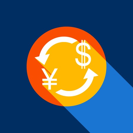 Currency exchange sign. Japan Yen and US Dollar. Vector. White icon on tangelo circle with infinite shadow of light at cool black background. Selective yellow and bright navy blue are produced. Illustration