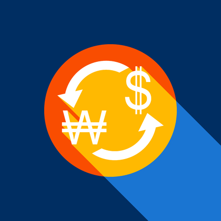 Currency exchange sign. South Korea Won and US Dollar. Vector. White icon on tangelo circle with infinite shadow of light at cool black background. Selective yellow and bright navy blue are produced.
