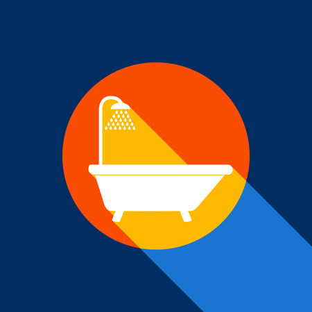 Bathtub sign. Vector. White icon on tangelo circle with infinite shadow of light at cool black background. Selective yellow and bright navy blue are produced.