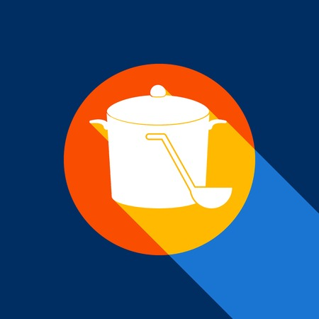 Pan with steam sign. Vector. White icon on tangelo circle with infinite shadow of light at cool black background. Selective yellow and bright navy blue are produced. Illustration