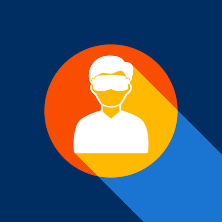 Man with sleeping mask sign. Vector. White icon on tangelo circle with infinite shadow of light at cool black background. Selective yellow and bright navy blue are produced.