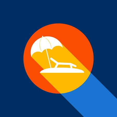 recliner: Tropical resort beach. Sunbed Chair sign. Vector. White icon on tangelo circle with infinite shadow of light at cool black background. Selective yellow and bright navy blue are produced.
