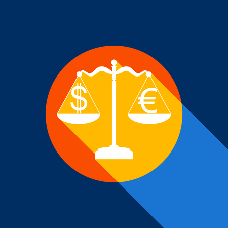 Justice scales with currency exchange sign. Vector. White icon on tangelo circle with infinite shadow of light at cool black background. Selective yellow and bright navy blue are produced.
