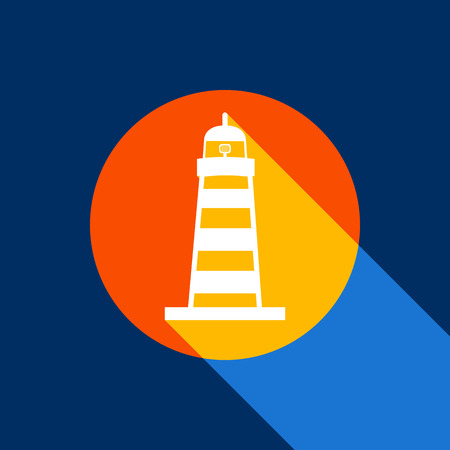 Lighthouse sign illustration. Vector. White icon on tangelo circle with infinite shadow of light at cool black background. Selective yellow and bright navy blue are produced. Illustration