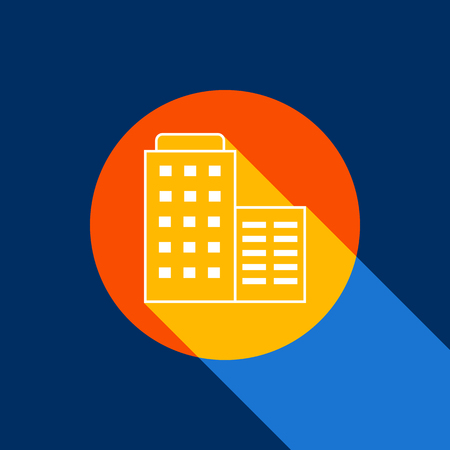 apartment bell: Building sign illustration. Vector. White icon on tangelo circle with infinite shadow of light at cool black background. Selective yellow and bright navy blue are produced. Illustration