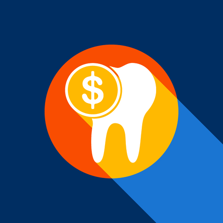 The cost of tooth treatment sign. Vector. White icon on tangelo circle with infinite shadow of light at cool black background. Selective yellow and bright navy blue are produced. Illustration
