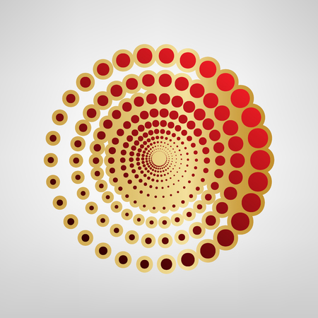 Abstract technology circles sign. Vector. Red icon on gold sticker at light gray background. Illustration