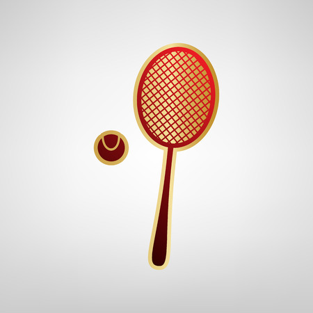 Tennis racquet with ball sign. Vector. Red icon on gold sticker at light gray background.
