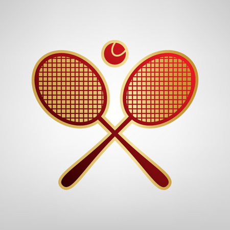 Two tennis racket with ball sign. Vector. Red icon on gold sticker at light gray background.