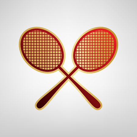 Two tennis racket sign. Vector. Red icon on gold sticker at light gray background. Illustration