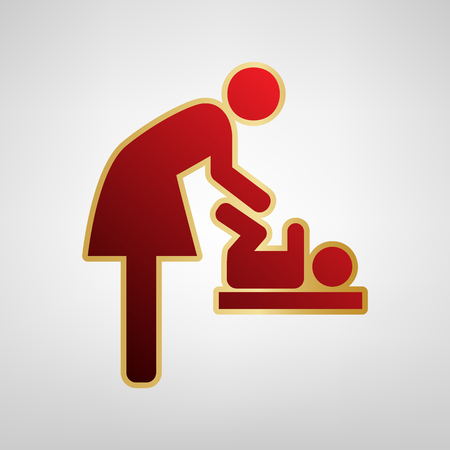 Women and baby symbol, baby changing. Vector. Red icon on gold sticker at light gray background.