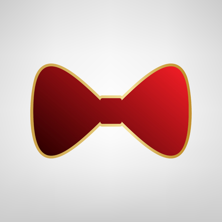 Bow Tie icon. Vector. Red icon on gold sticker at light gray background. Illustration