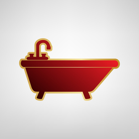 Bathtub sign illustration. Vector. Red icon on gold sticker at light gray background. Vectores