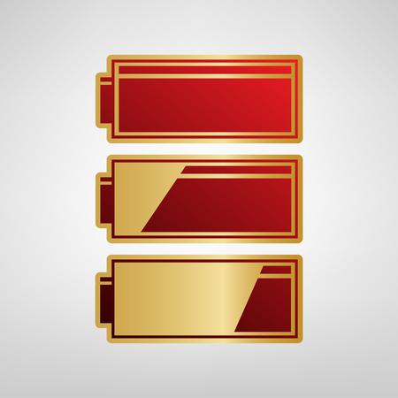 バッテリ充電レベル インジケーターをセットします。ベクトル。明るい灰色の背景にゴールドのステッカーの赤いアイコンを。