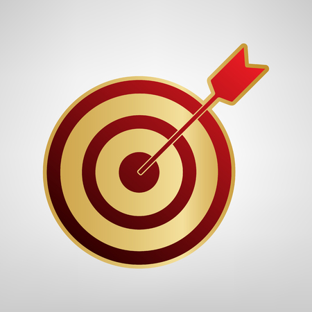 Target with dart. Vector. Red icon on gold sticker at light gray background.