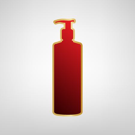 Gel, Foam Or Liquid Soap. Dispenser Pump Plastic Bottle silhouette. Vector. Red icon on gold sticker at light gray background.