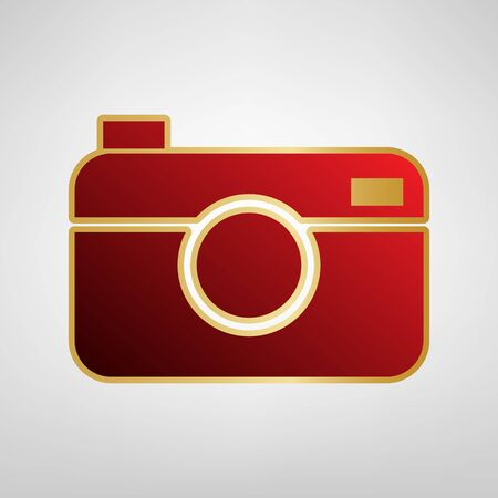Digital photo camera sign. Vector. Red icon on gold sticker at light gray background. Illustration