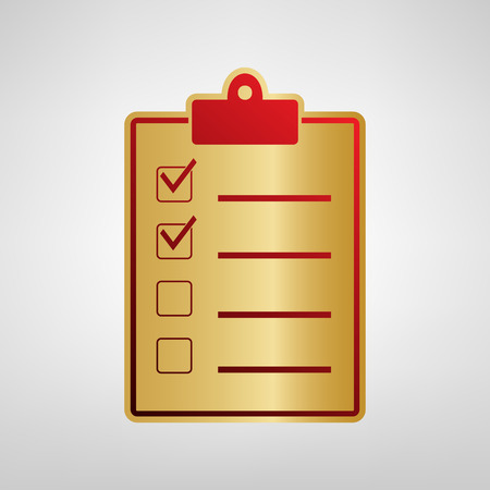 Checklist sign illustration. Vector. Red icon on gold sticker at light gray background.
