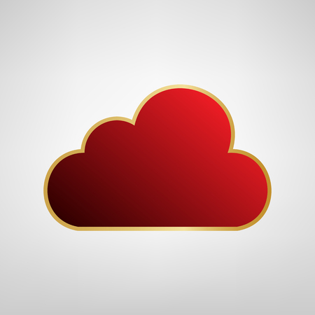 Cloud sign illustration. Vector. Red icon on gold sticker at light gray background.