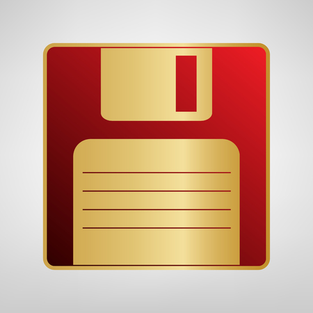 Floppy disk sign. Vector. Red icon on gold sticker at light gray background. 向量圖像