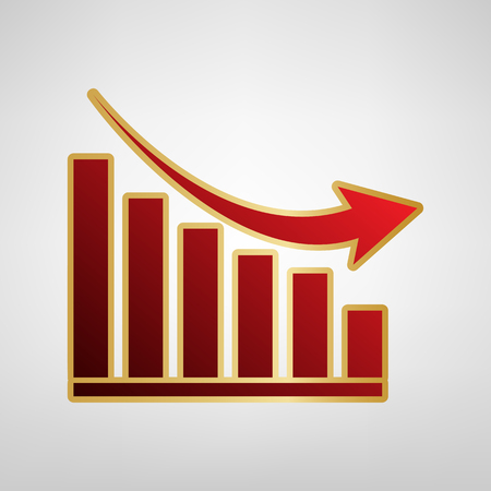 Declining graph sign. Vector. Red icon on gold sticker at light gray background. Illustration