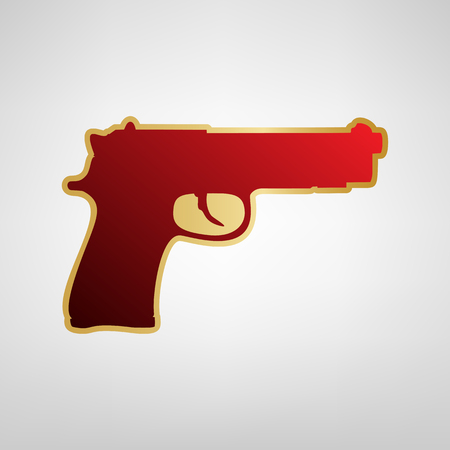 Gun sign illustration. Vector. Red icon on gold sticker at light gray background.