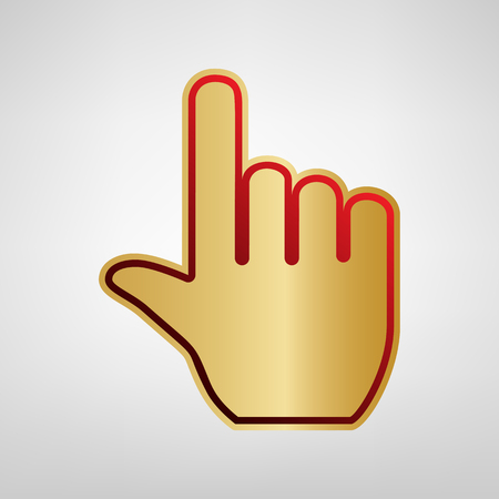 Hand sign illustration. Vector. Red icon on gold sticker at light gray background.