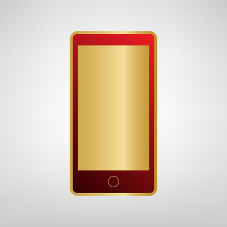 Abstract style modern gadget with blank screen. Template for any content. Vector. Red icon on gold sticker at light gray background.