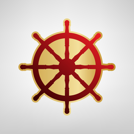 Ship wheel sign. Vector. Red icon on gold sticker at light gray background. Illustration