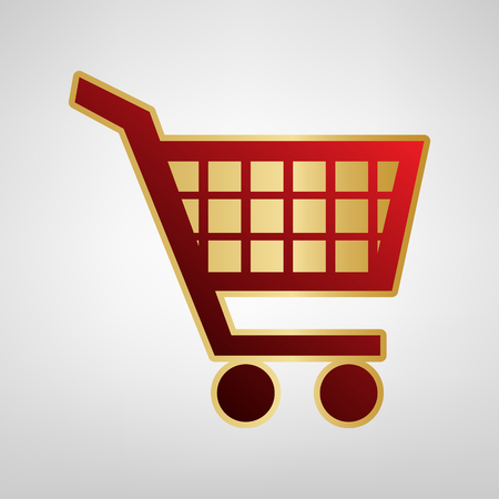 Shopping cart sign. Vector. Red icon on gold sticker at light gray background.
