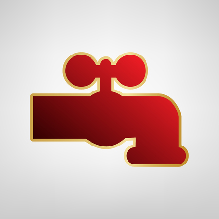Water faucet sign illustration. Vector. Red icon on gold sticker at light gray background.