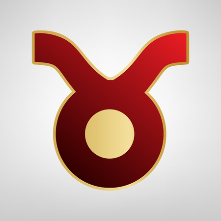 Taurus sign illustration. Vector. Red icon on gold sticker at light gray background.
