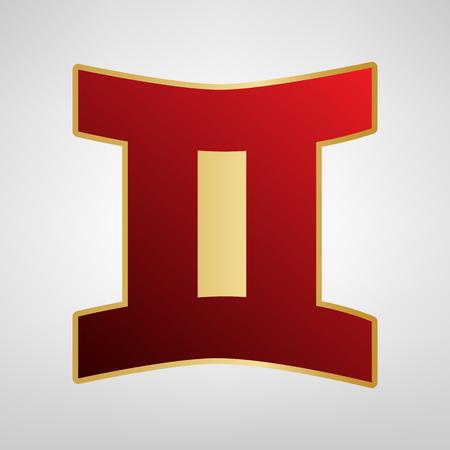 Signo de Géminis Vector. Icono rojo en la etiqueta engomada del oro en el fondo gris claro. Ilustración de vector