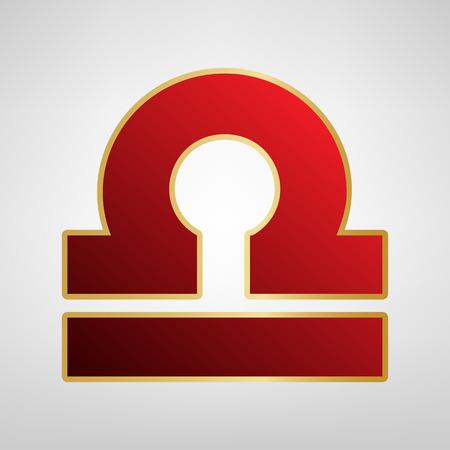 Libra sign illustration. Vector. Red icon on gold sticker at light gray background. Illustration