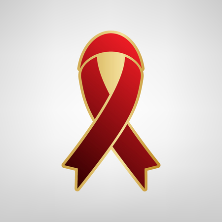 Black awareness ribbon sign. Vector. Red icon on gold sticker at light gray background. Illustration
