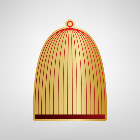Bird cage sign. Vector. Red icon on gold sticker at light gray background.