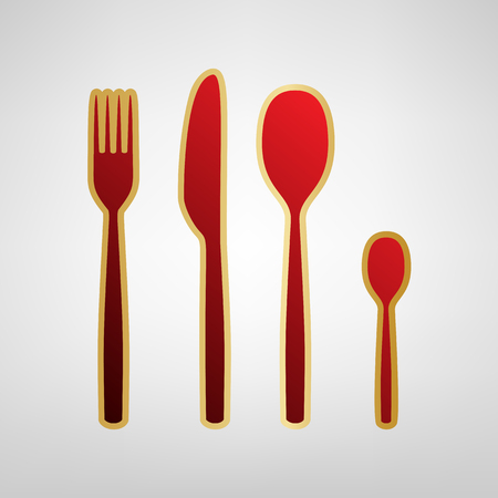 Fork spoon and knife sign. Vector. Red icon on gold sticker at light gray background. Illustration