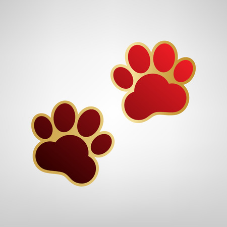 Animal Tracks sign. Vector. Red icon on gold sticker at light gray background. Ilustracja