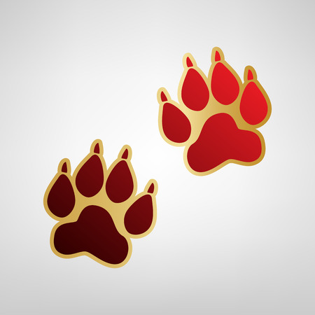 Animal Tracks sign. Vector. Red icon on gold sticker at light gray background. Illustration