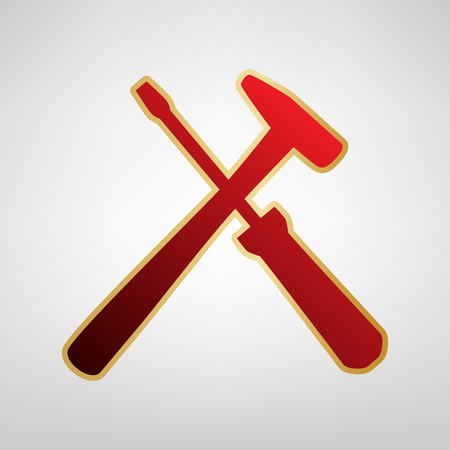 Tools sign illustration. Vector. Red icon on gold sticker at light gray background.