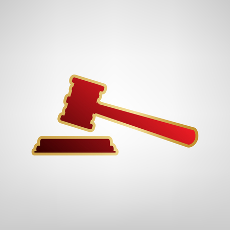 Justice hammer sign. Vector. Red icon on gold sticker at light gray background.