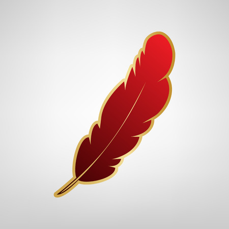 Feather sign illustration. Vector. Red icon on gold sticker at light gray background.