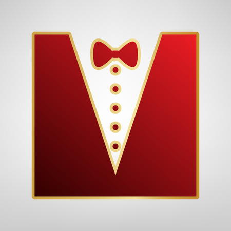 Tuxedo with bow silhouette. Vector. Red icon on gold sticker at light gray background. Illustration