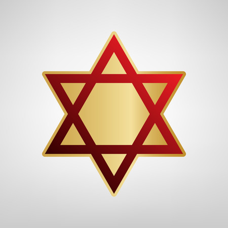 Shield Magen David Star. Symbol of Israel. Vector. Red icon on gold sticker at light gray background. Illustration