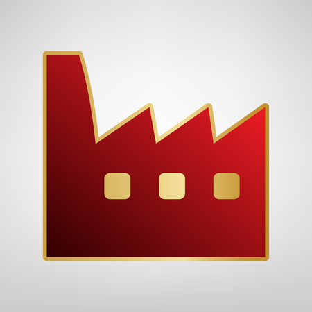 Factory sign illustration. Vector. Red icon on gold sticker at light gray background.