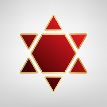 Shield Magen David Star Inverse. Symbol of Israel inverted. Vector. Red icon on gold sticker at light gray background. Illustration