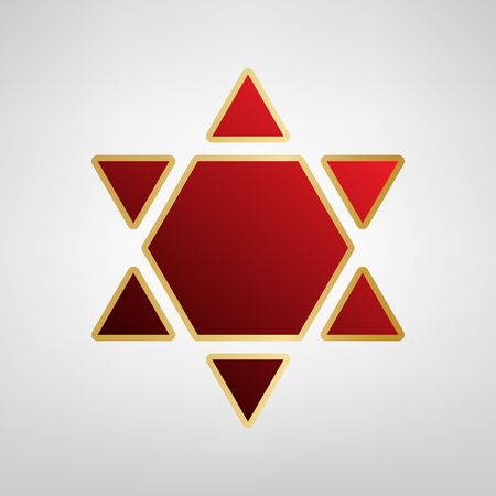 Shield Magen David Star Inverse. Symbol of Israel inverted. Vector. Red icon on gold sticker at light gray background. Illustration