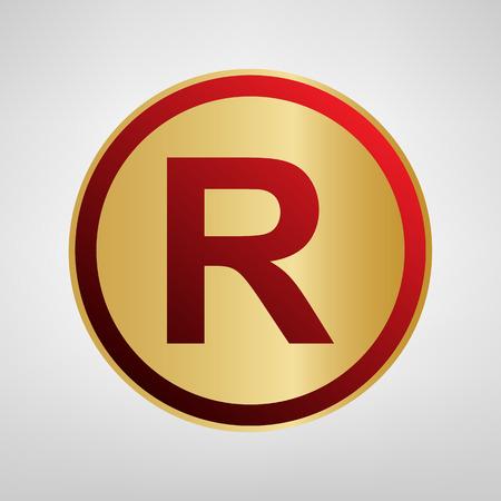 商標記号を登録しました。ベクトル。明るい灰色の背景にゴールドのステッカーの赤いアイコンを。