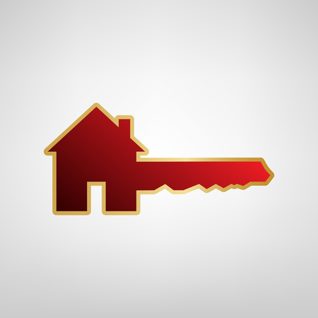 Home Key sign. Vector. Red icon on gold sticker at light gray background.
