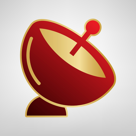 Satellite dish sign. Vector. Red icon on gold sticker at light gray background.
